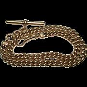 "Victorian 18 Kt Gold Pocket Watch Chain 15"" T-bar Swivel Watch End"