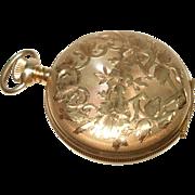 1902 Ladies 14 Kt Gold Hunt case Waltham Pocket Watch Pendant Watch 3/0 Size Flower Design