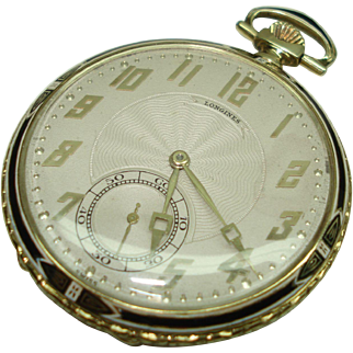 1919 Longines 14 Kt Gold Black and White Enamel Fancy Pocket Watch Professionally Serviced