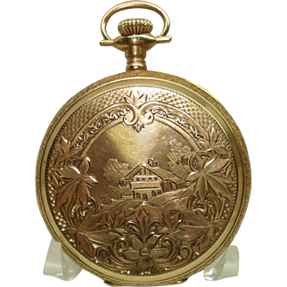 1919 Hamilton 993 Solid 14 Kt Gold Huntcase Pocket Watch 16 Size Fancy Etchings