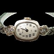 1975 Bulova 14 Kt White Gold Diamond Ladies Wristwatch Roman Numerals
