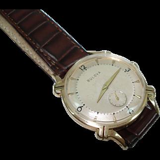 1953 Vintage 14 kt Gold Men's Bulova Fancy Lugs  Wristwatch