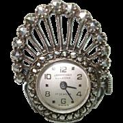 Art Deco 800 Silver Marcasite Ladies  Fan Shaped Ring Watch 17 Jewel