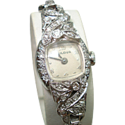 14 Kt White Gold Diamond Ladies Bulova Extended Lugs Wristwatch 14 Kt Gold Diamond Bracelet Band