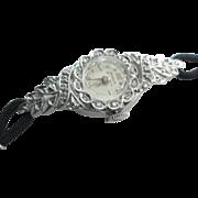 14 Kt Gold Diamond  Ladies Benrus Wristwatch Extended Lugs