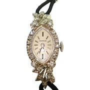 14 Kt White Gold Diamond 21 Jewel Ladies Vintage Benrus Wristwatch