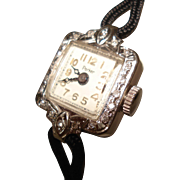 14 Kt White Gold Diamond Ladies Vintage Wristwatch by Parker