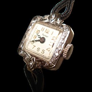 14 Kt White Gold Diamond Ladies Vintage Wristwatch by Parker