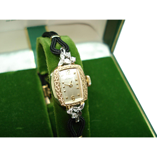14Kt Gold Diamond Ladies Vintage Le Coultre Wristwatch in Original Box Serviced