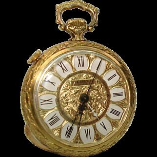 Rare Ladies Alarm Pendant  Purse Watch by  Gruen Built in Stand 17 Jewel Mechanical Watch