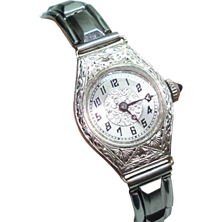 14Kt White Gold Art Deco Etched Case Sapphire Crown Helbros Ladies Wristwatch