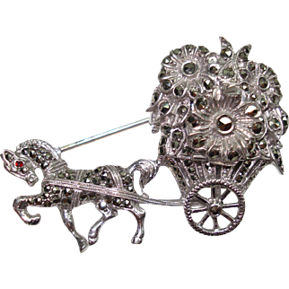Sterling Silver Marcasite Horse Drawn Carriage  Peek a Boo Hidden Watch Flip Top Lapel Pin Watch