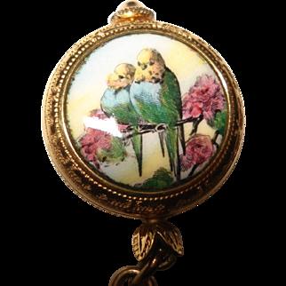 Ladies Vintage Kelbert Mechanical Hand Painted Enamel Pendant Watch Lovebirds Scene