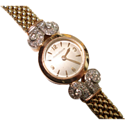 18 Kt Gold Tricolor Diamond Jaeger LeCoultre Ladies Vintage Back Wind Wristwatch