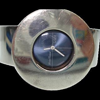Lucien Piccard Sterling Silver Vintage Modernist Style Bangle Bracelet Wristwatch