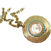 "Ladies Vintage Turquoise Pendant Watch 17 Jewel Mechanical 36"" Chain"