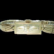 14 Kt Gold Unique Textured Bezel Wittnauer Ladies Vintage Wristwatch
