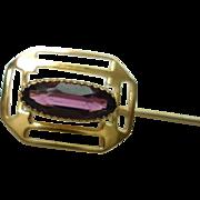 10 Kt Gold Amethyst Sawtooth Bezel Set Stick Pin Lapel Pin