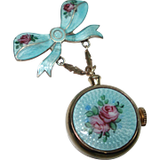 Vintage Blue Guilloche Enamel Sterling Silver Rose Lapel Watch