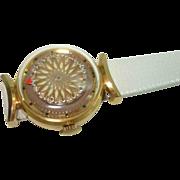 Vintage Ernest Borel Ladies Brown Kaliedoscope Cocktail Wristwatch Skeleton View Back