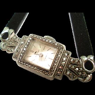 800 Silver Marcasite Bucherer Ladies Wristwatch Hand Winding Fully Serviced