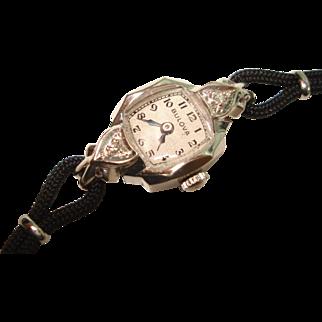 Vintage 14 Kt White Gold Diamond Heart Lugs Bulova Ladies Wristwatch
