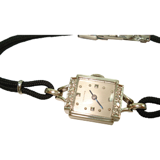 14 Kt White Gold Diamond Concord Ladies Wristwatch Serviced