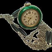 Vintage Guilloche Green Enamel Sterling Bell  Necklace Watch