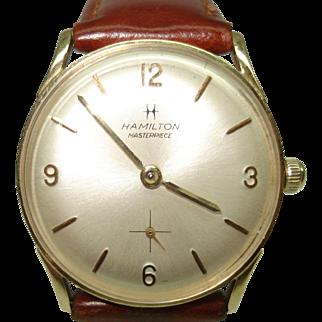 14 Kt Gold Vintage 1950's Men's Hamilton Masterpiece 731 Wristwatch