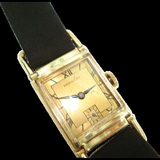 """1941 Hamilton """"Wilshire"""" Vintage Men's Wristwatch Extended Movable Lugs"""