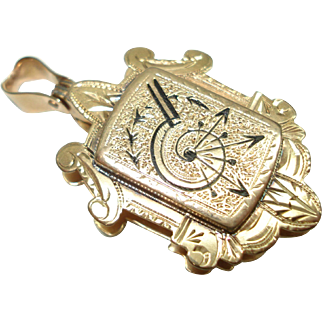 Victorian 14 Kt Rose Gold Enameled Pill Pocket Style Pendant  Locket or Watch Fob