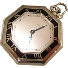 1932 Art Deco Enameled Octagon Elgin  17 Jewel Pocket Watch