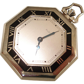 1932 Art Deco Enameled Octagon Elgin  17 Jewel Pocket Watch