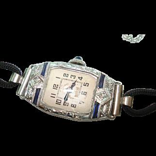 Art Deco 14 Kt Gold Blue Sapphire Diamond Ladies Wristwatch
