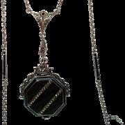Antique Carl Bucherer Sterling Black Enamel Marcasite Pendant Watch