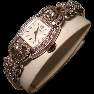 Art Deco Platinum 3 Cttw Diamond Hamilton Ladies Extended Movable Lugs Wristwatch