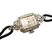 Art Deco Platinum Diamond Ladies Girard Perregaux Wristwatch