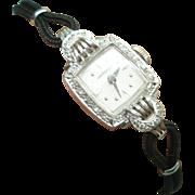 Platinum Diamond Vintage Ladies Hamilton Wristwatch