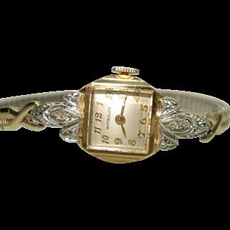 14 Kt Gold Diamond Wittnauer Ladies Vintage Wrist Watch Professionally Serviced