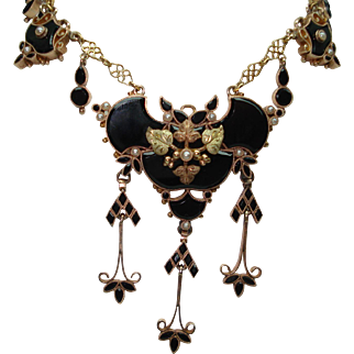 Victorian 14 Kt Tri-colored Gold Black Onyx Seed Pearl Festoon Mourning Necklace