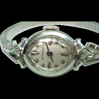 14 Kt White Gold Diamond Wittnauer Ladies Vintage Wristwatch