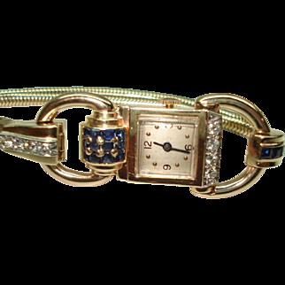 Art Deco 14 Kt Yellow Gold Blue Sapphire Diamond Ladies Wristwatch
