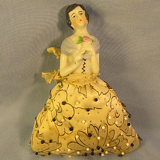 Great Vintage *Half-Doll* Satin Pincushion