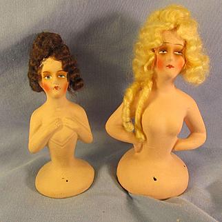 2 Vintage German *Half-Dolls* Org Wigs