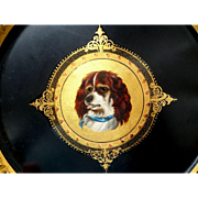 Hand Painted & Gilded Papier Mache Dog Plaque c1860