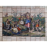 1880's Large Picture Brick Puzzle Hand Coloured Print