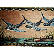 Fine Beadwork Needlepoint Picture Of Swallows c1890