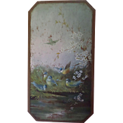 Blue Tit Bird Family Oil On Panel c1915