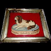 Needlepoint Of Spaniel On Cushion c1880