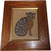 Small Victorian Cat Needlepoint c1880 - Red Tag Sale Item